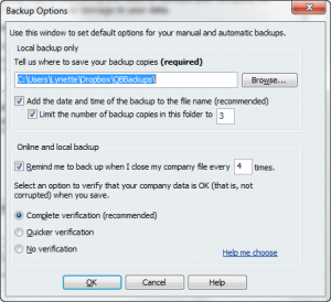 Automatic backups in QuickBooks Figure 1.2